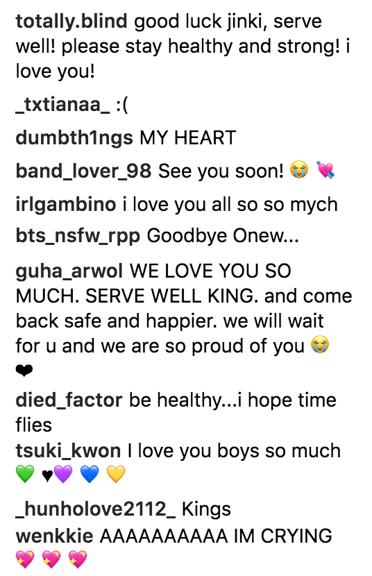 onew shinee army post