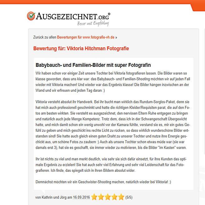 Kundenbewertung für Fotostudio in Heidelberg.