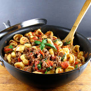 Easy Cheese Tortellini with Meat Sauce.