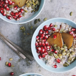 Steel Cut Oats with Maple Roasted Pears + Pomegranate