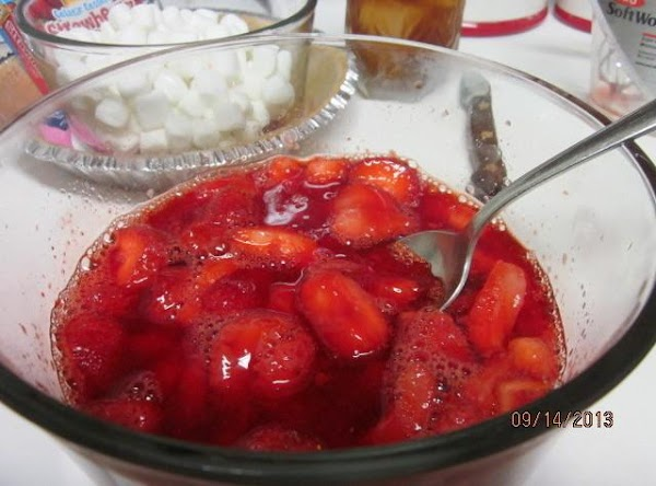 Add 10 ounce of frozen strawberries or a combination of fresh and frozen. ...