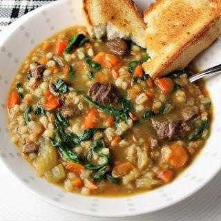 Hearty Beef Barley Vegetable Soup.