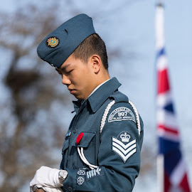 Honour Guard by Garry Dosa - People Portraits of Men ( flag, poppy, remembrance day, uniforms, people, standing, celebration, outdoors, ceremony, person, solemn, male, rifle )