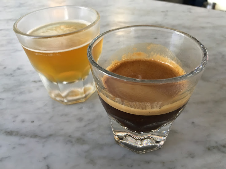 Espresso at G&B (plus a free accompanying shot of fizzy hoppy tea).