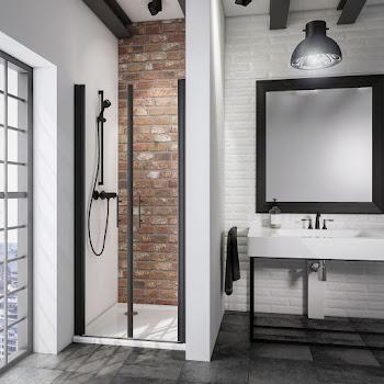 Portes de douche battantes en niche, 70, 80, ou 90 cm, style industriel, profilé noir
