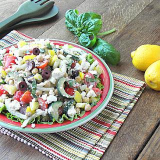 Mediterranean Tuna Chickpea Salad with Lemon Tahini Dressing