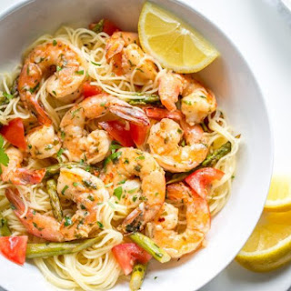 Shrimp Scampi with Asparagus and Tomatoes.