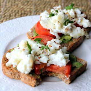 Open-faced Breakfast Sandwich With Egg Whites, Avocado & Tomato.