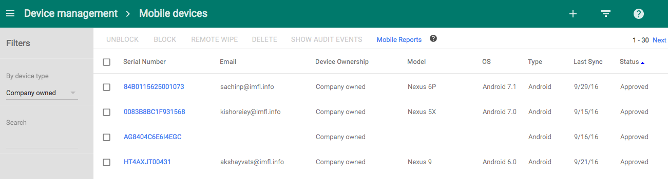 Mobile inventory page in the Admin console screenshot