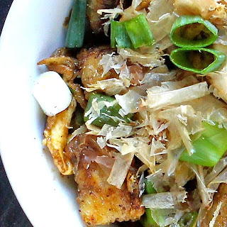 Japanese Fried Tofu with Egg, Spring Onion & Bonito Flakes.