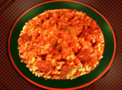 A Spicey Cajun/creole Sauce Served Over Cooked Rice.