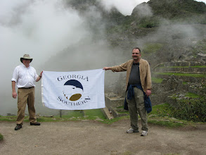 Photo: Drs. Eaton and Klein showing the GSU colors at Macchu Picchu