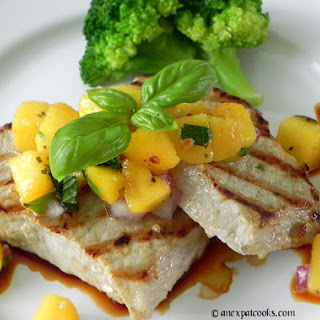 Grilled Pork Chops with Peach-Lime Salsa