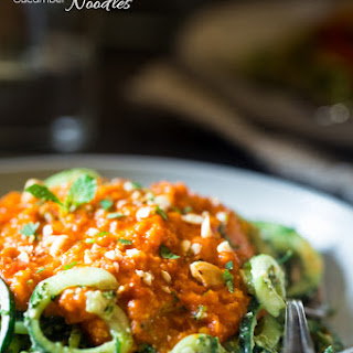 Vegan Lentil Coconut Curry With Cashew Cilantro Pesto Cucumber Noodles