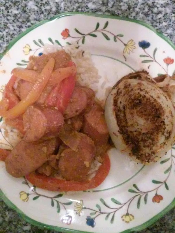Red Thai Curry With Smoked Sausage And Baked Onion Recipe