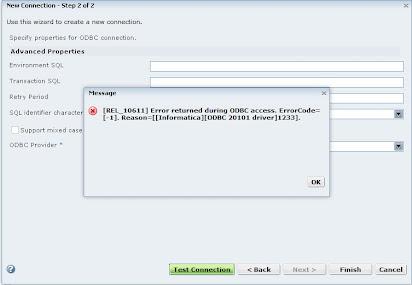Informatica odbc 20101 driver error