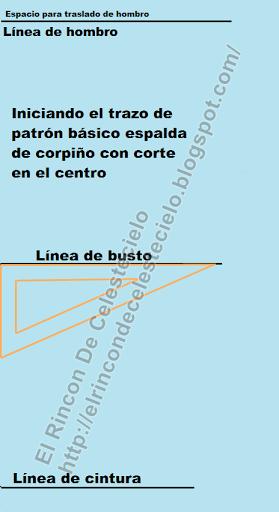 Escuadrando líneas horizontales para trazo de patrón corpiño espalda con corte en el centro