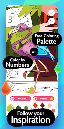 Colorain: Paint by Numbers or use Coloring Palette  screenshots 2
