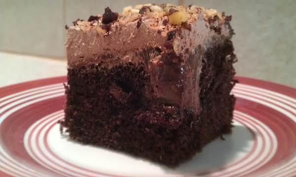 Hot Fudge, Whipped Frosting, And Cocoa Almonds Will Dress Up Any Chocolate Cake Mix.  Hot Fudge Anyday Cake Is Easy To Make!