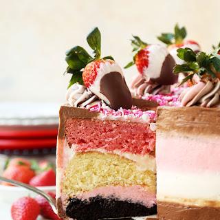 Chocolate-Dipped Strawberry Neapolitan Cake.