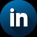 circle, high quality, linkedin, long shadow, media, social, social media icon