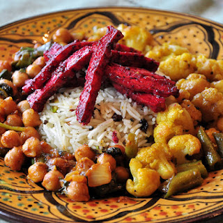 Tandoori Tofu, Chana Masala, Pistachio and Currant Biryani, Cauliflower and Scallions with Black Mustard Seeds.