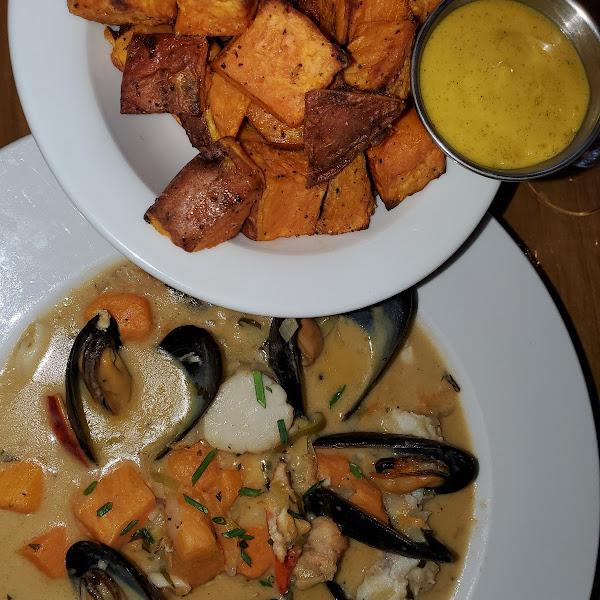 Chowder and sweet potatoes 🤗