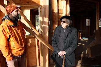 """Photo: 95-year-old West Sound neighbor and 60-year resident, enjoying her walk-through of the house this morning. """"This is just great!"""" she kept saying, which felt like a benediction to us."""