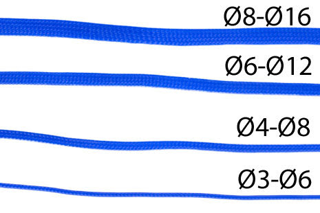Nanoxia kabelstrømpe, tettflettet, Ø4-Ø8mm, blå