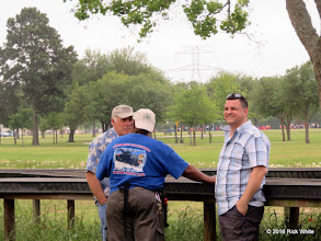 Photo: The Dentist with LGB in his office, Caleb Roberts (back to camera) and a visitor talking around the Gauge 1 track.    HALS Public Run Day 2016-0416