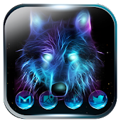 Ice Wolf Neon Launcher Theme 2018