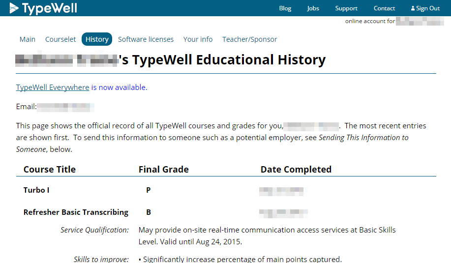 screenshot of Educational History page in transcriber's account