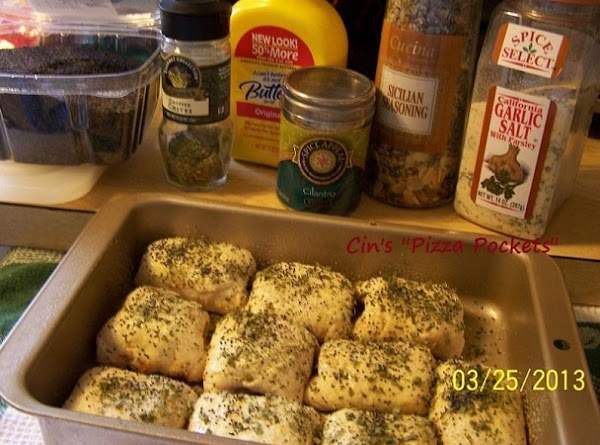 Sooo, I sprinkled on some chives, cilantro and Dutch poppy seeds. Then put them into...
