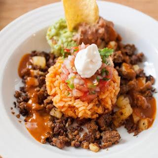 Mexican Rice with Pico De Gallo, Chorizo Seitan and Diced Potatoes.