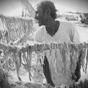 Fish Business by Naveed Dadan - People Street & Candids ( black and white, art, street, india, travel, people, portrait, man, photography, city )