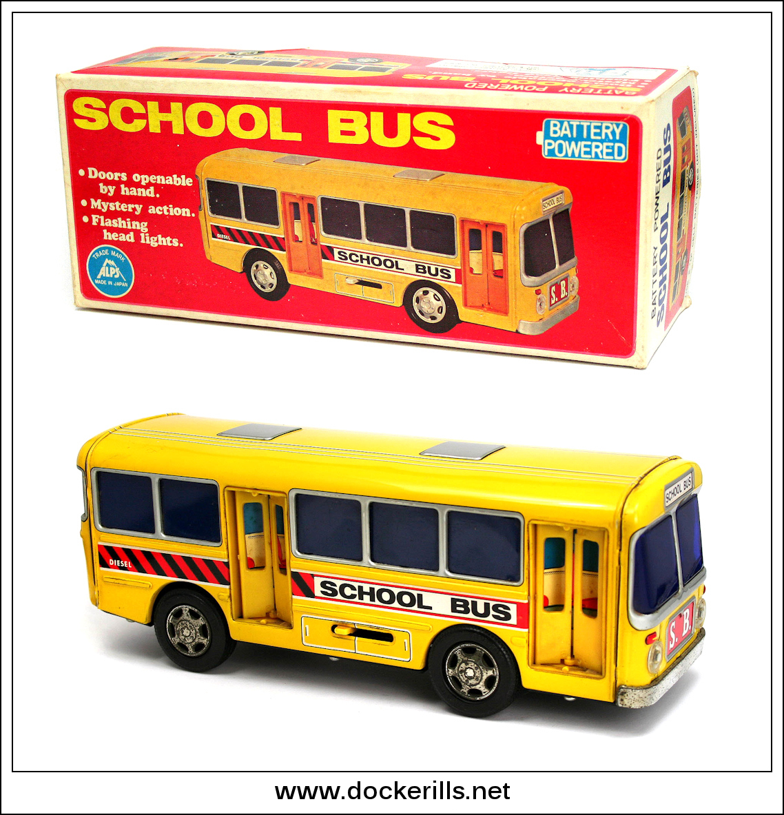 "Photo: Alps ""School Bus"", Japan.   Tinplate / Battery Operated.  Visit my blog - Collecting Tin Toys at  http://tinplatetoys.blogspot.co.uk/"