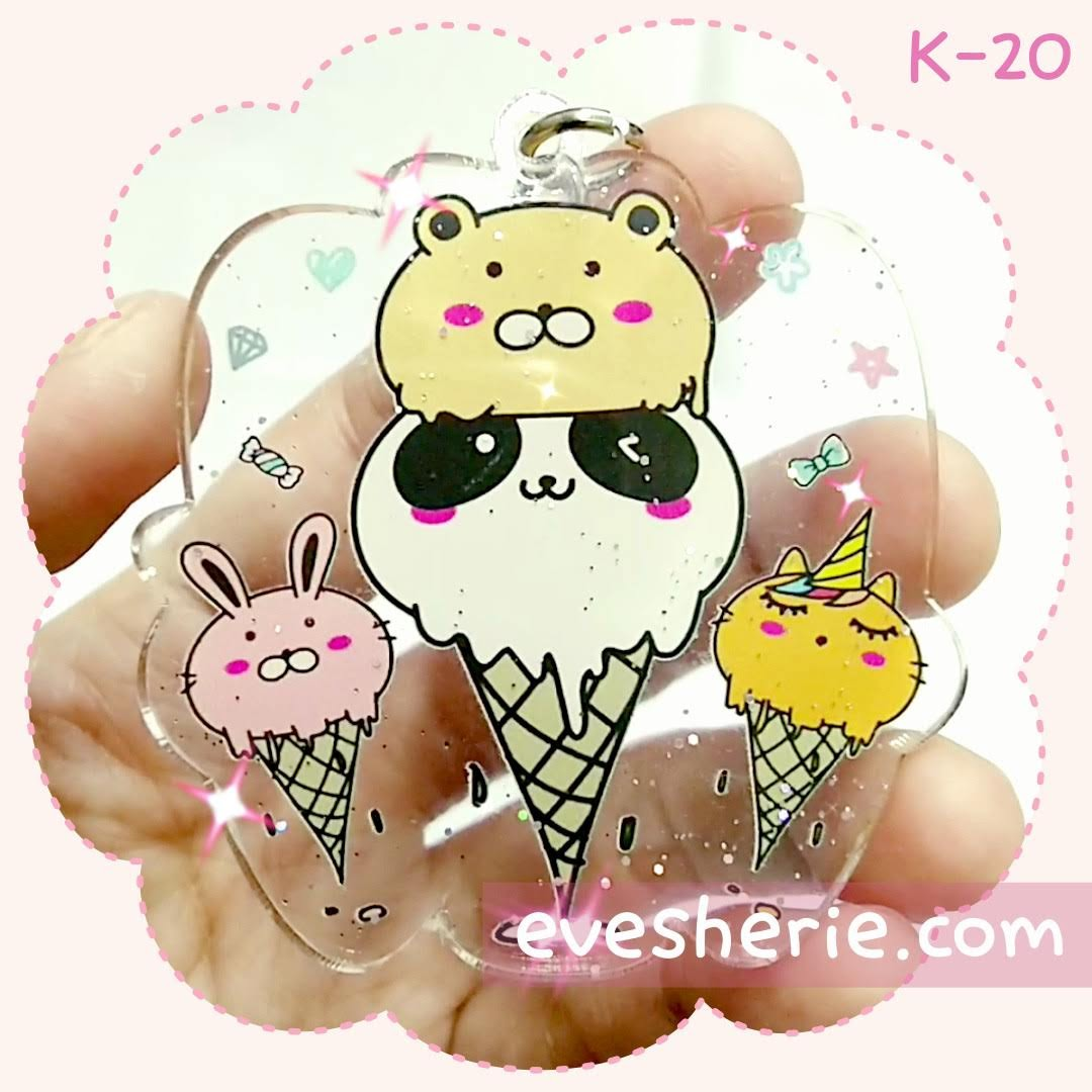 พวงกุญแจ ไอติม ไอศครีม แพนด้า หมี กระต่าย สีพาสเทล น่ารัก cute pastel icecream panda rabbit bunny bear keychain