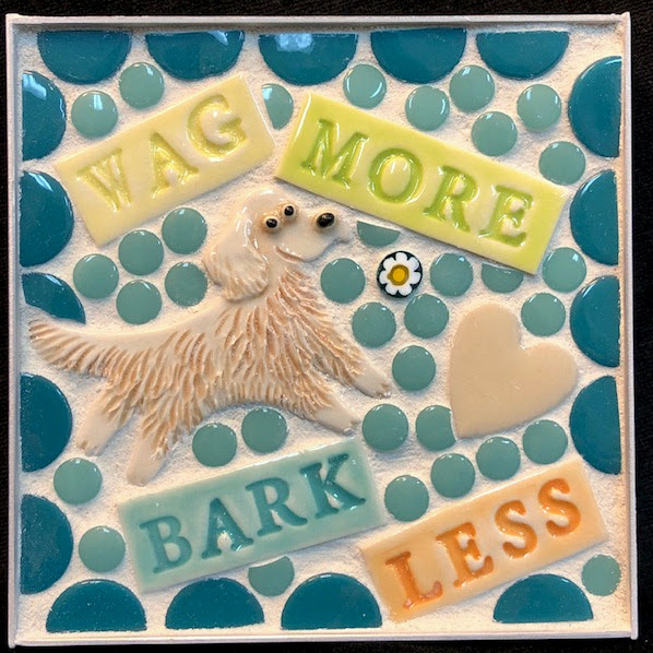 Wag More Bark Less Golden Retriever Mini Mosaic by Brenda Pokorny