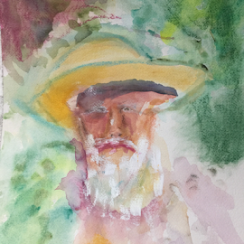 old man by Jeanne Knoch - Painting All Painting