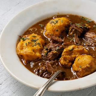Beef Stew With Sweet Potato Dumplings.