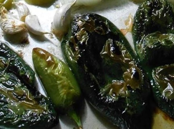 Roast four large or eight small poblanos. After cooled remove skin and seeds, and...