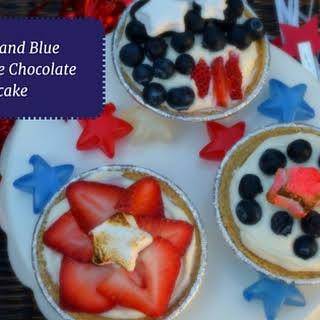 Red, White and Blue No Bake White Chocolate Cheesecake.