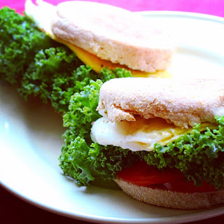 Simple Vegetarian Egg and Veggie Breakfast Sandwich.