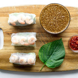 Shrimp Spring Rolls with Sesame Dipping Sauce.