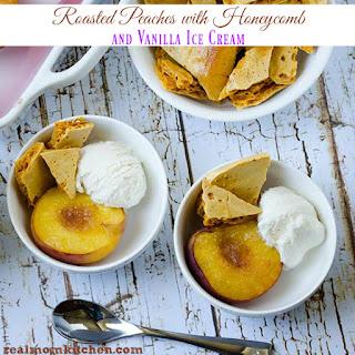Roasted Peaches with Honeycomb and Breyers Vanilla Ice Cream