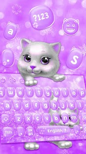 Purple Cute Kitty keyboard Theme - náhled