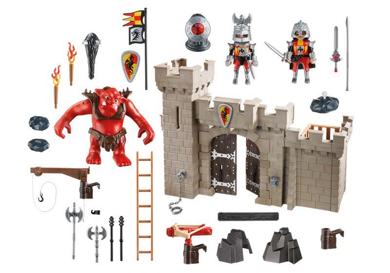 Contenido real de Playmobil® 5670 Puerta del Castillo con Troll Rojo