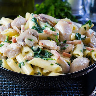 Creamy Chicken and Bacon Pasta.