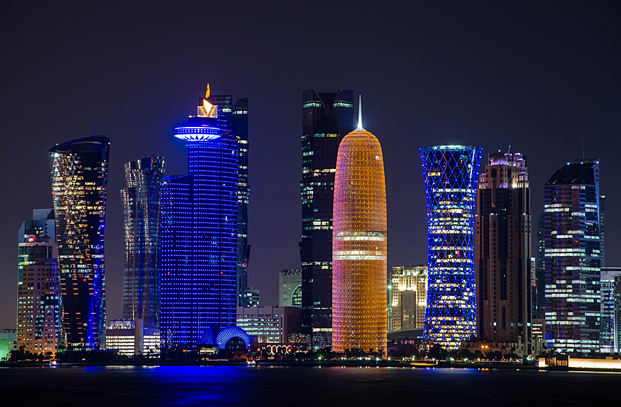 Doha City by Fitria Ramli - Buildings & Architecture Office Buildings & Hotels ( lights, cityscapes, office, skyline, doha, buildings, night, qatar, landscapes, nightscapes, hotels, city, holiday lights,  )