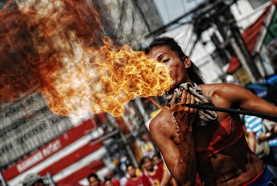 firebreather by Christian Malubag - People Musicians & Entertainers ( quiapo, malubs, christianmalubag, malubsphotography, firebreather, fire )